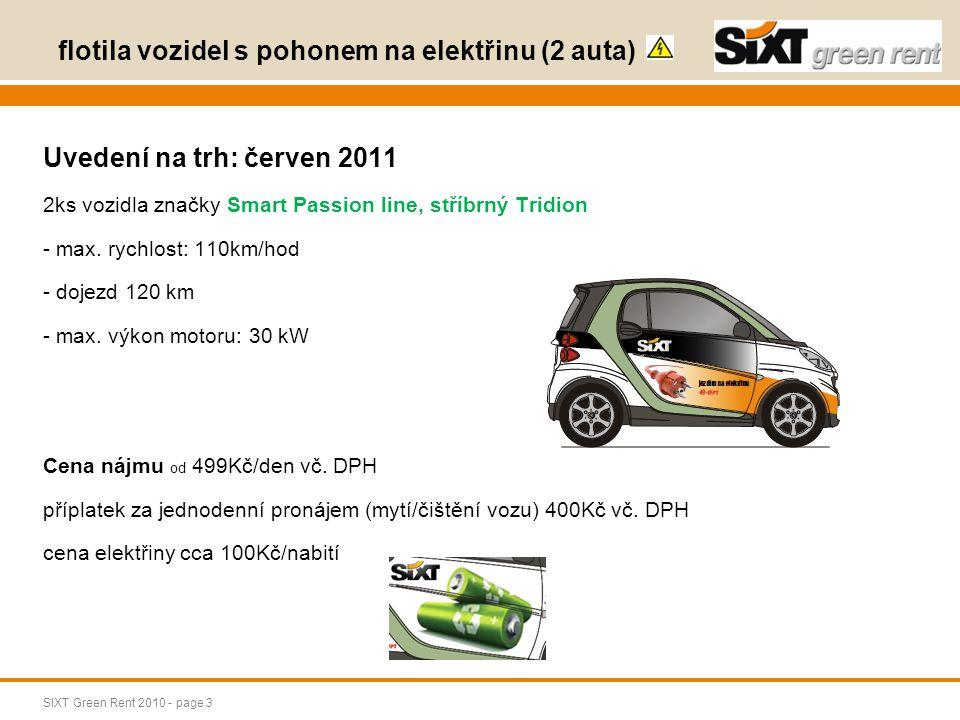 SIXT Green Rent 2010 - page 4 flotila vozidel s pohonem na CNG (40 aut) Uvedení na trh: 10.10.2009 Mercedes Benz B akční rádius 1.000 km / natankování universálnost velikosti vozidla, kvalita vozidla, dnes již 40 vozidel pod SIXT GREEN RENT Cena: od 800Kč/den bez DPH