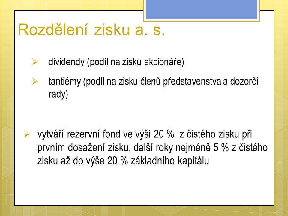 Rozdělení zisku a. s.  dividendy (podíl na zisku akcionáře)  tantiémy (podíl na zisku členů představenstva a dozorčí rady)  vytváří rezervní fond v