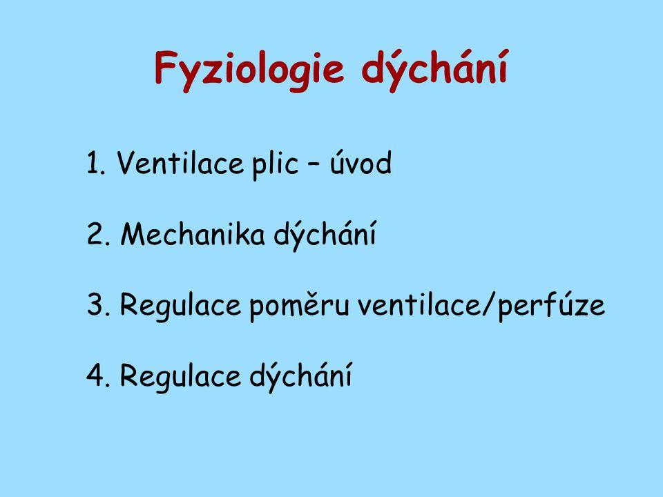 1. Ventilace plic – úvod 2. Mechanika dýchání 3. Regulace poměru ventilace/perfúze 4. Regulace dýchání Fyziologie dýchání