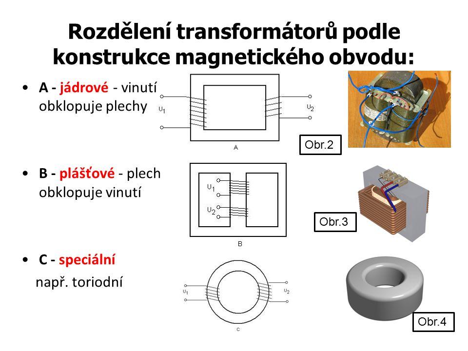 Rozdělení transformátorů podle konstrukce magnetického obvodu: A - jádrové - vinutí obklopuje plechy B - plášťové - plech obklopuje vinutí C - speciál
