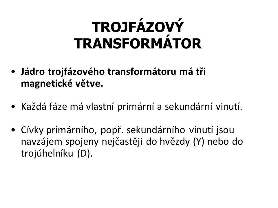 Jádro trojfázového transformátoru má tři magnetické větve. Každá fáze má vlastní primární a sekundární vinutí. Cívky primárního, popř. sekundárního vi