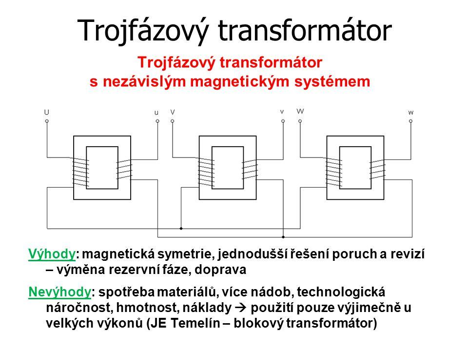Trojfázový transformátor s nezávislým magnetickým systémem Výhody: magnetická symetrie, jednodušší řešení poruch a revizí – výměna rezervní fáze, dopr