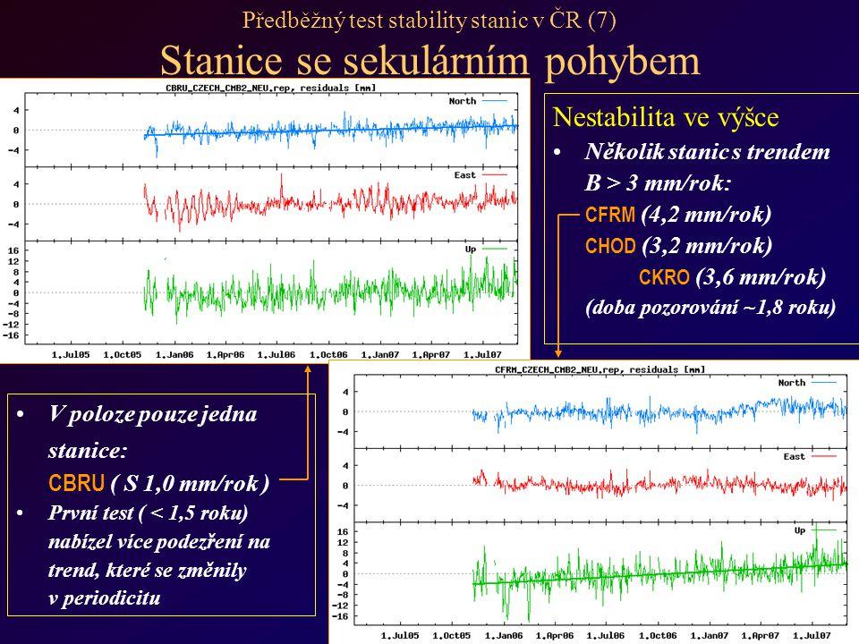 Předběžný test stability stanic v ČR (7) Stanice se sekulárním pohybem Nestabilita ve výšce Několik stanic s trendem B > 3 mm/rok: CFRM (4,2 mm/rok) CHOD (3,2 mm/rok) CKRO (3,6 mm/rok) (doba pozorování ~1,8 roku) V poloze pouze jedna stanice: CBRU ( S 1,0 mm/rok ) První test ( < 1,5 roku) nabízel více podezření na trend, které se změnily v periodicitu