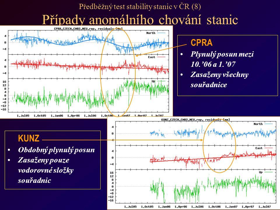 Předběžný test stability stanic v ČR (8) Případy anomálního chování stanic CPRA Plynulý posun mezi 10.'06 a 1.'07 Zasaženy všechny souřadnice KUNZ Obdobný plynulý posun Zasaženy pouze vodorovné složky souřadnic