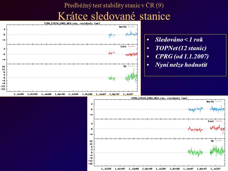 Předběžný test stability stanic v ČR (9) Krátce sledované stanice Sledováno < 1 rok TOPNet (12 stanic) CPRG (od 1.1.2007) Nyní nelze hodnotit