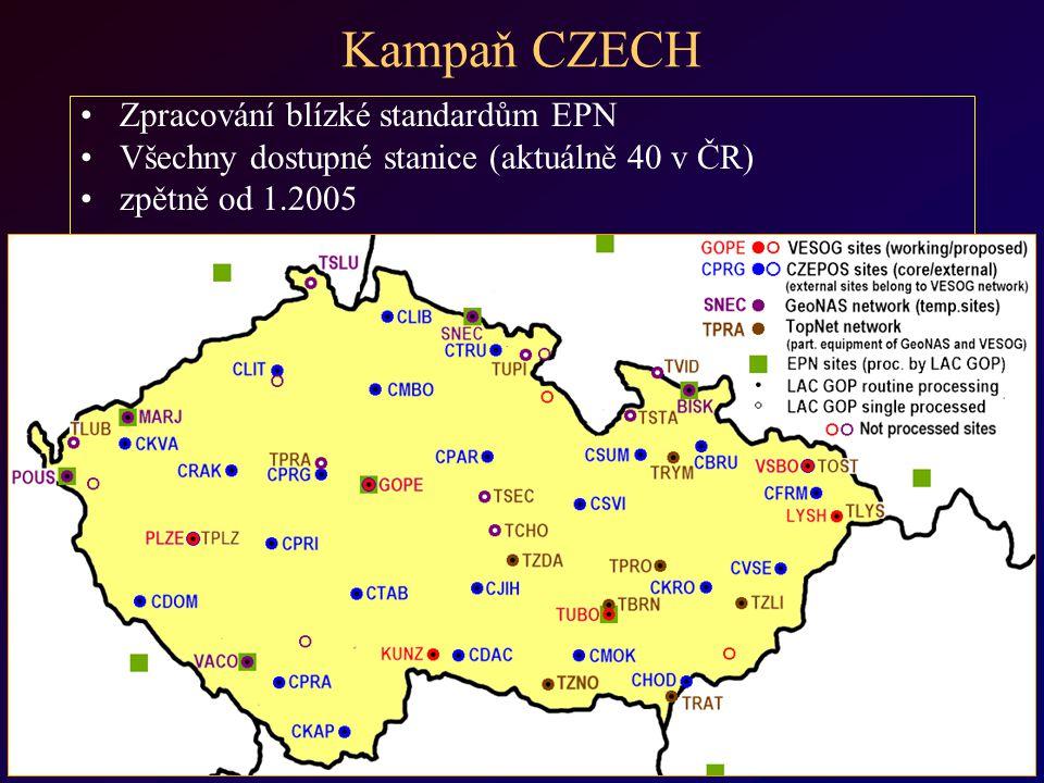 Kampaň CZECH Zpracování blízké standardům EPN Všechny dostupné stanice (aktuálně 40 v ČR) zpětně od 1.2005