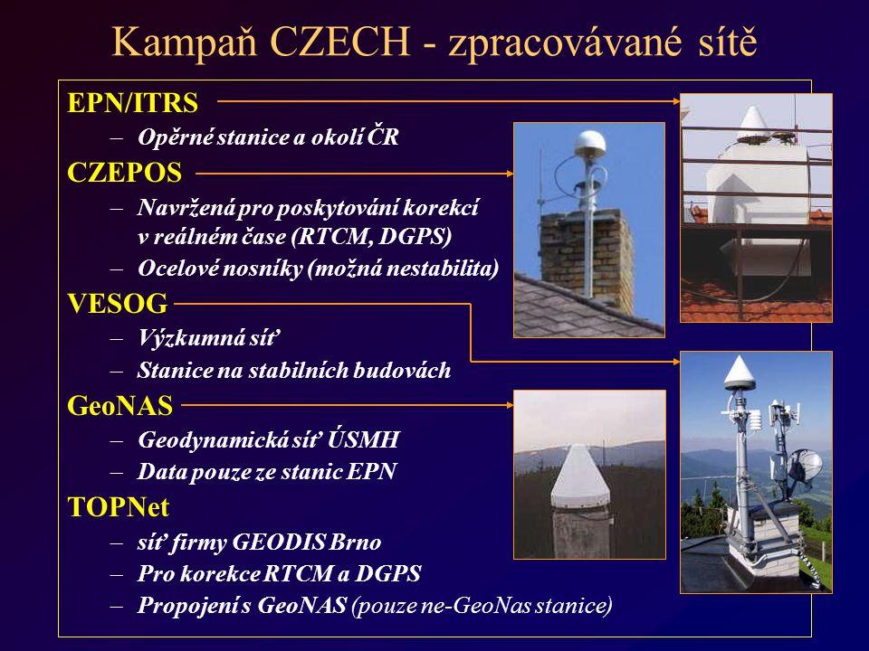 Kampaň CZECH - zpracovávané sítě EPN/ITRS –Opěrné stanice a okolí ČR CZEPOS –Navržená pro poskytování korekcí v reálném čase (RTCM, DGPS) –Ocelové nosníky (možná nestabilita) VESOG –Výzkumná síť –Stanice na stabilních budovách GeoNAS –Geodynamická síť ÚSMH –Data pouze ze stanic EPN TOPNet –síť firmy GEODIS Brno –Pro korekce RTCM a DGPS –Propojení s GeoNAS (pouze ne-GeoNas stanice)