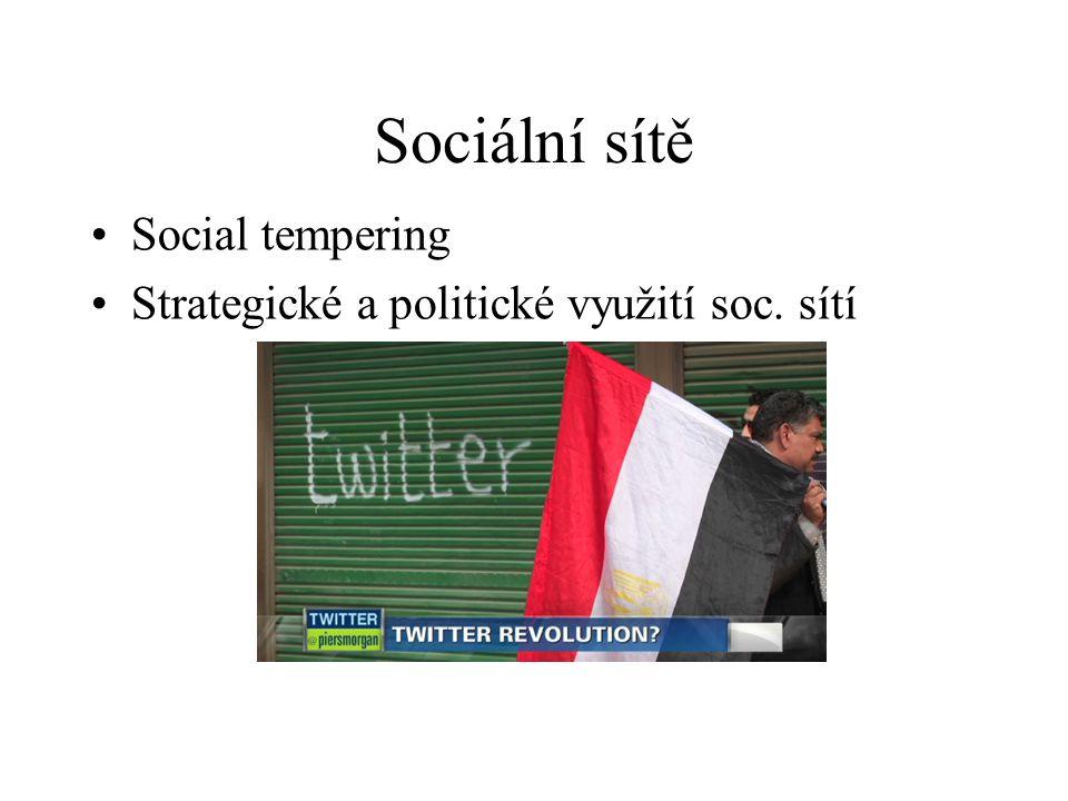 Sociální sítě Social tempering Strategické a politické využití soc. sítí