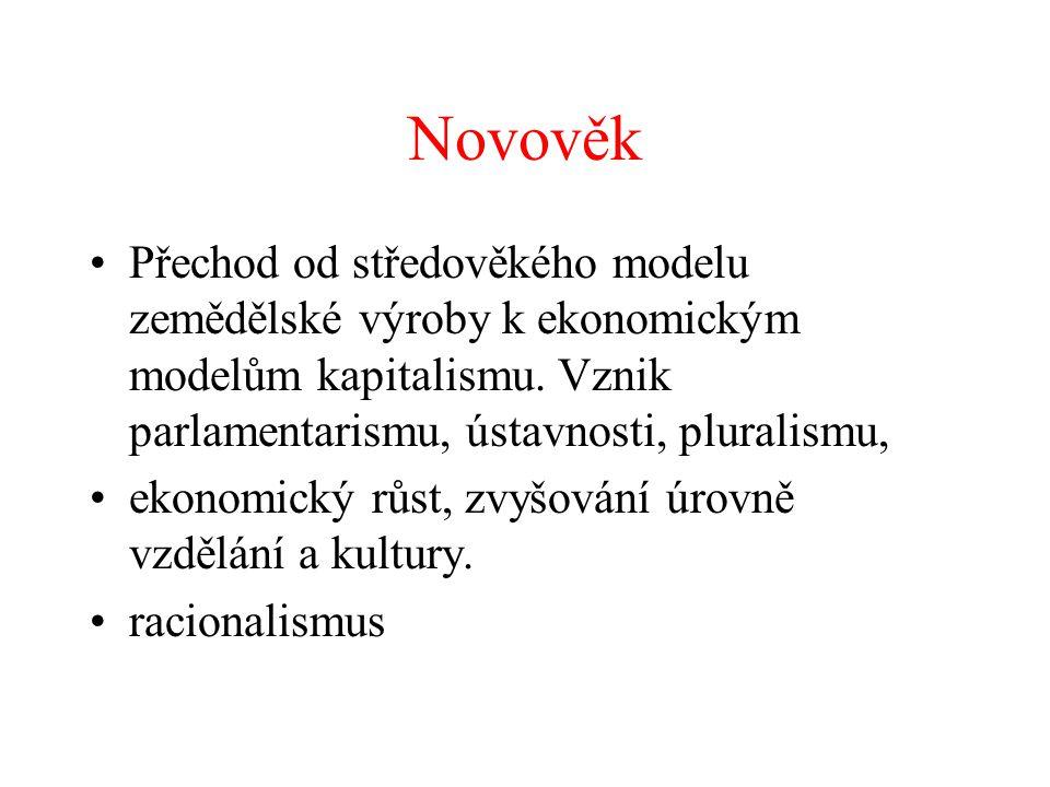 Novověk Přechod od středověkého modelu zemědělské výroby k ekonomickým modelům kapitalismu. Vznik parlamentarismu, ústavnosti, pluralismu, ekonomický