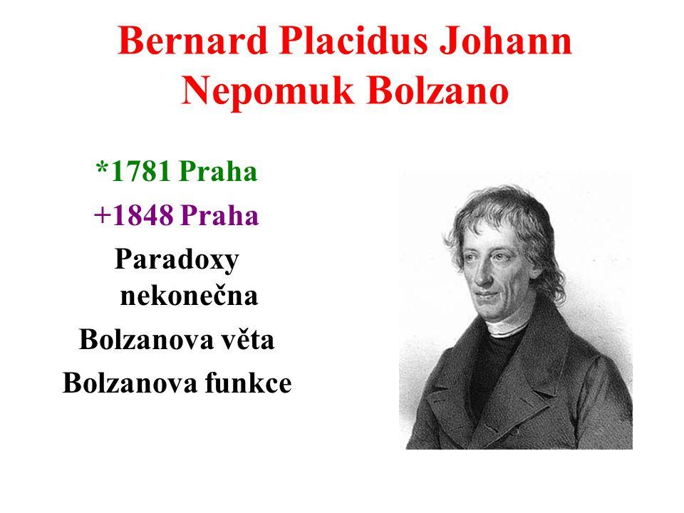 Bernard Placidus Johann Nepomuk Bolzano *1781 Praha +1848 Praha Paradoxy nekonečna Bolzanova věta Bolzanova funkce