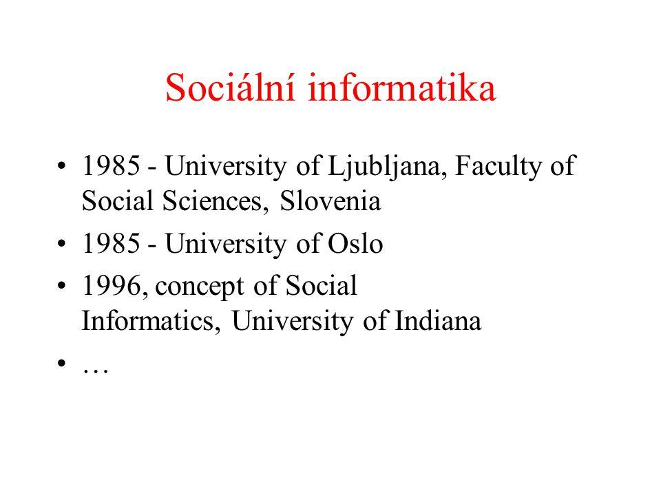 Sociální informatika 1985 - University of Ljubljana, Faculty of Social Sciences, Slovenia 1985 - University of Oslo 1996, concept of Social Informatic