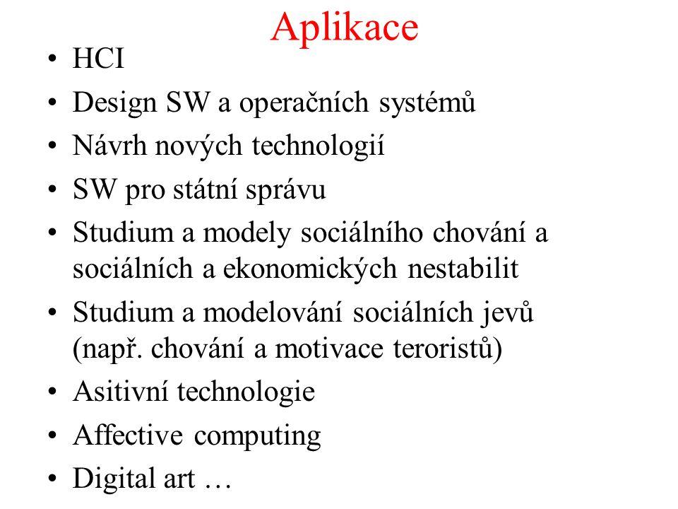 Aplikace HCI Design SW a operačních systémů Návrh nových technologií SW pro státní správu Studium a modely sociálního chování a sociálních a ekonomick