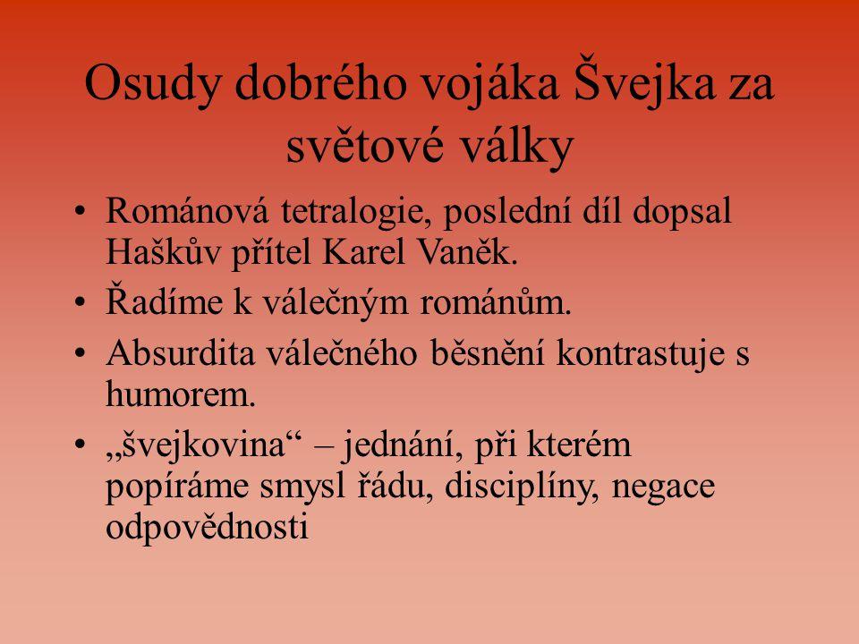 Osudy dobrého vojáka Švejka za světové války Románová tetralogie, poslední díl dopsal Haškův přítel Karel Vaněk.