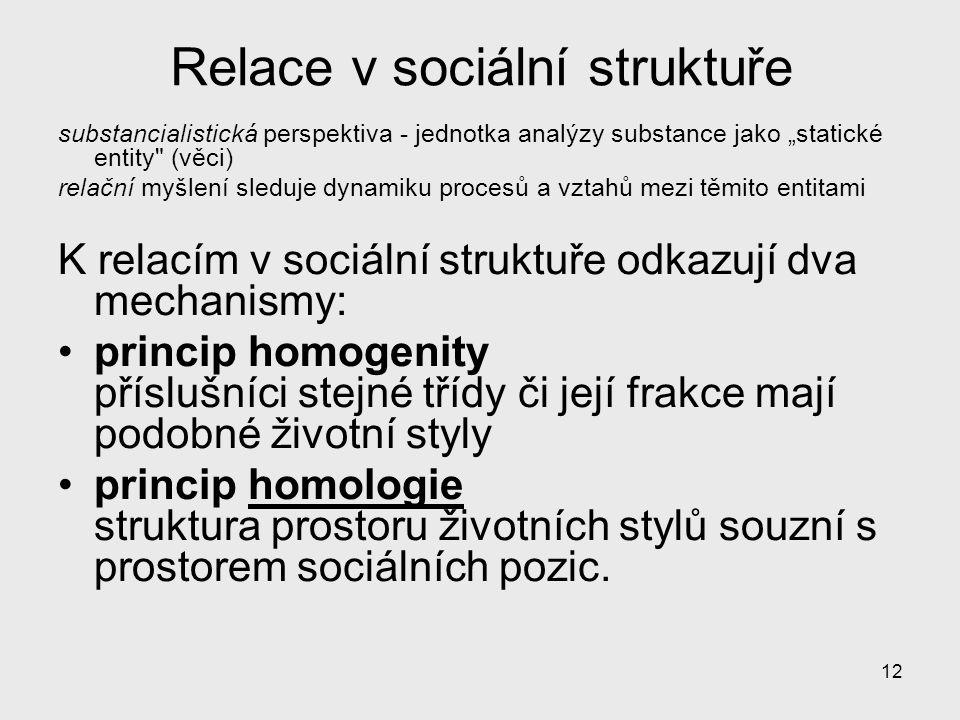 """12 Relace v sociální struktuře substancialistická perspektiva - jednotka analýzy substance jako """"statické entity"""