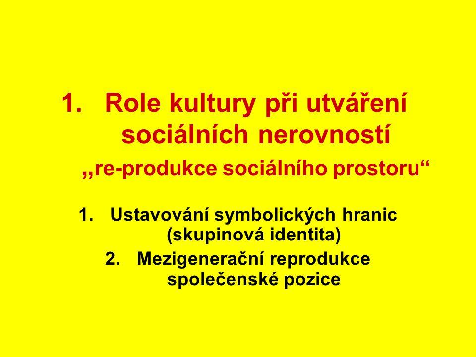 """1.Role kultury při utváření sociálních nerovností """" re-produkce sociálního prostoru"""" 1.Ustavování symbolických hranic (skupinová identita) 2.Mezigener"""