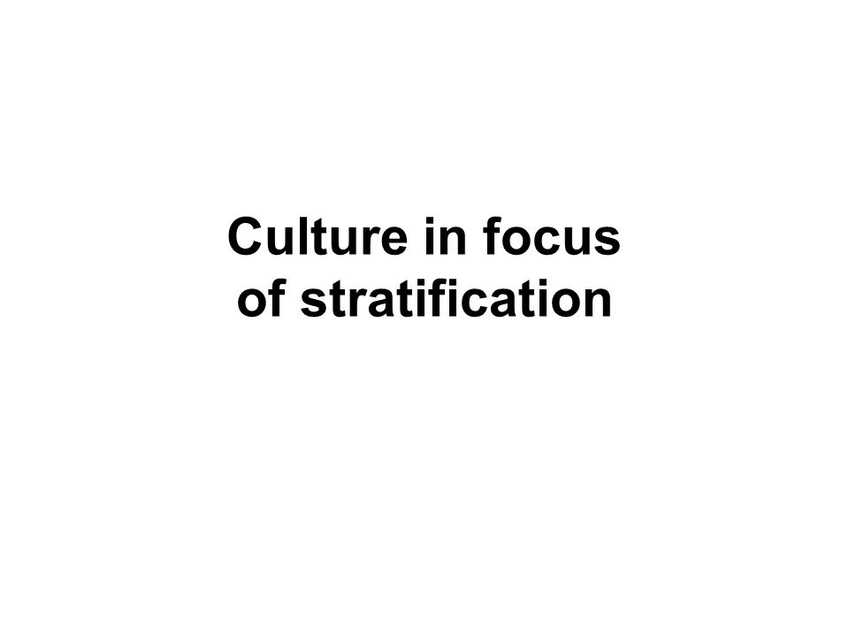 Culture in focus of stratification
