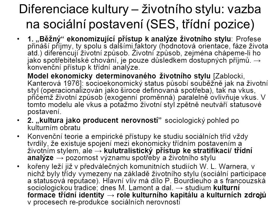 """20 Diferenciace kultury – životního stylu: vazba na sociální postavení (SES, třídní pozice) 1. """"Běžný"""" ekonomizující přístup k analýze životního stylu"""