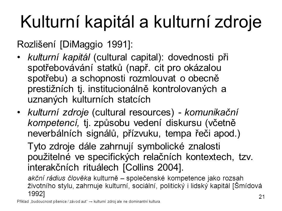 21 Kulturní kapitál a kulturní zdroje Rozlišení [DiMaggio 1991]: kulturní kapitál (cultural capital): dovednosti při spotřebovávání statků (např. cit