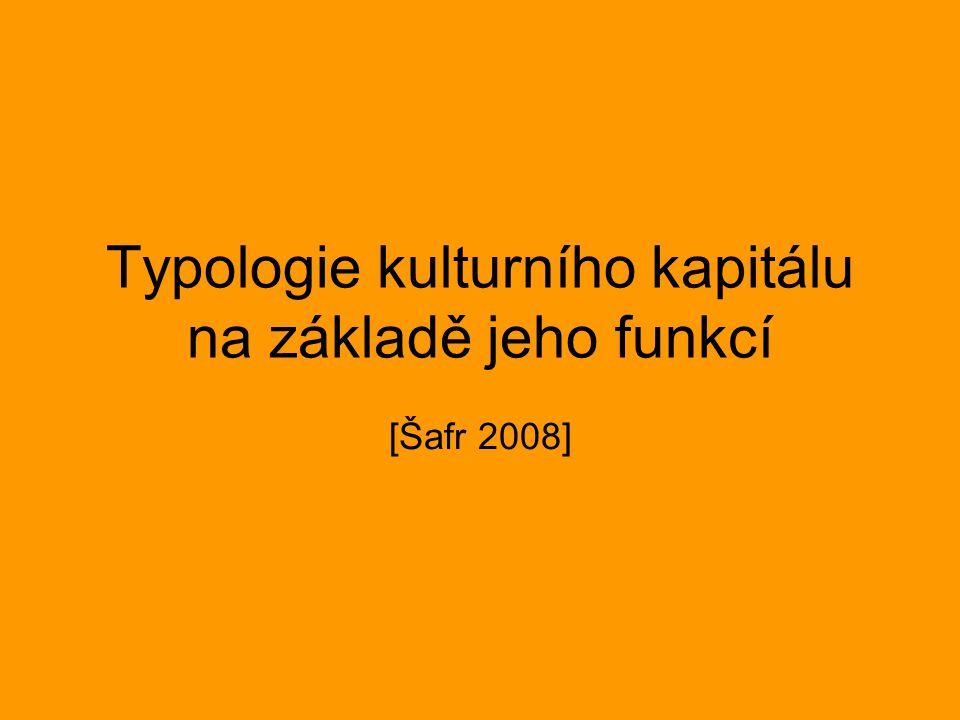 Typologie kulturního kapitálu na základě jeho funkcí [Šafr 2008]