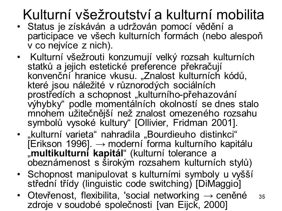 35 Kulturní všežroutství a kulturní mobilita Status je získáván a udržován pomocí vědění a participace ve všech kulturních formách (nebo alespoň v co