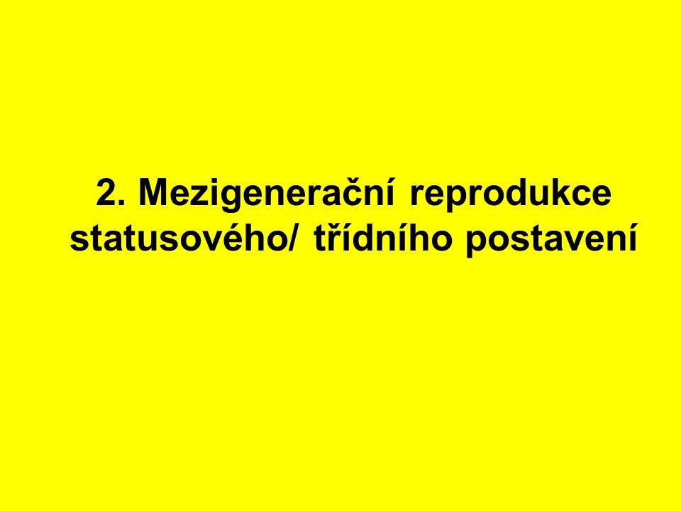 2. Mezigenerační reprodukce statusového/ třídního postavení