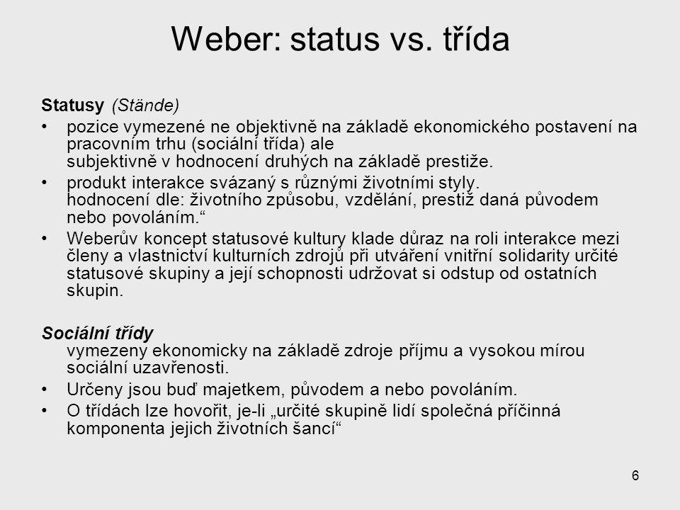 6 Weber: status vs. třída Statusy (Stände) pozice vymezené ne objektivně na základě ekonomického postavení na pracovním trhu (sociální třída) ale subj