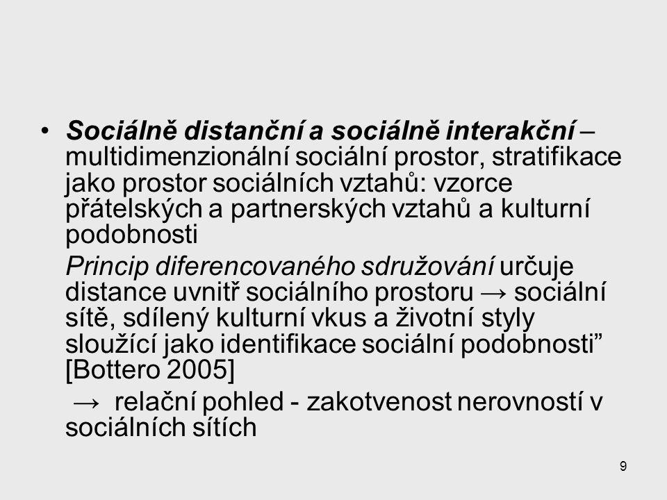 9 Sociálně distanční a sociálně interakční – multidimenzionální sociální prostor, stratifikace jako prostor sociálních vztahů: vzorce přátelských a pa