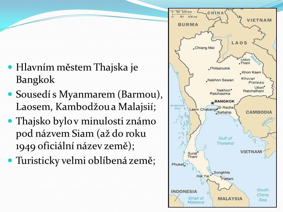 Hlavním městem Thajska je Bangkok Sousedí s Myanmarem (Barmou), Laosem, Kambodžou a Malajsií; Thajsko bylo v minulosti známo pod názvem Siam (až do ro