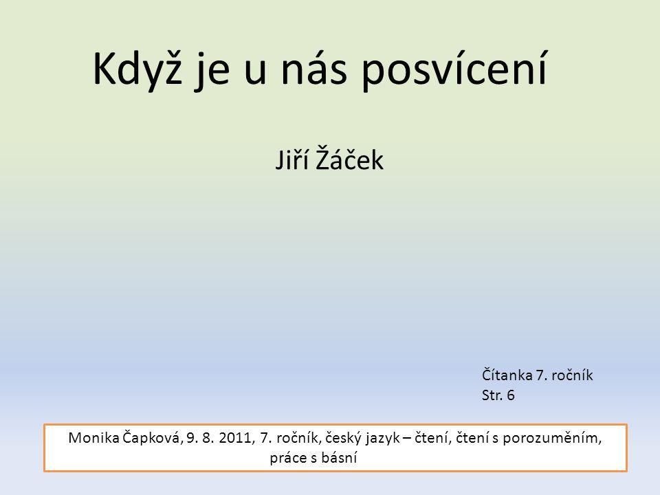 Když je u nás posvícení Jiří Žáček Čítanka 7.ročník Str.