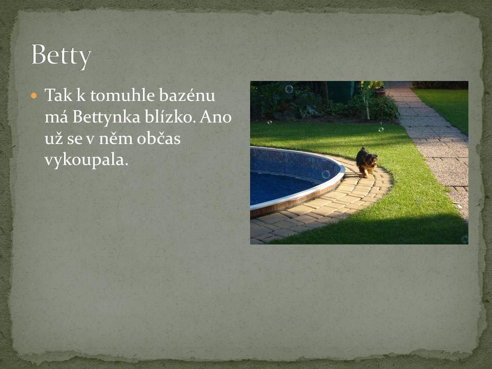 Tak k tomuhle bazénu má Bettynka blízko. Ano už se v něm občas vykoupala.