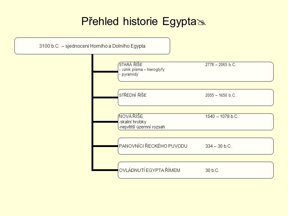 Přehled historie Egypta  3100 b.C. – sjednocení Horního a Dolního Egypta STARÁ ŘÍŠE 2778 – 2065 b.C. vznik písma – hieroglyfy pyramidy STŘEDNÍ ŘÍŠE 2