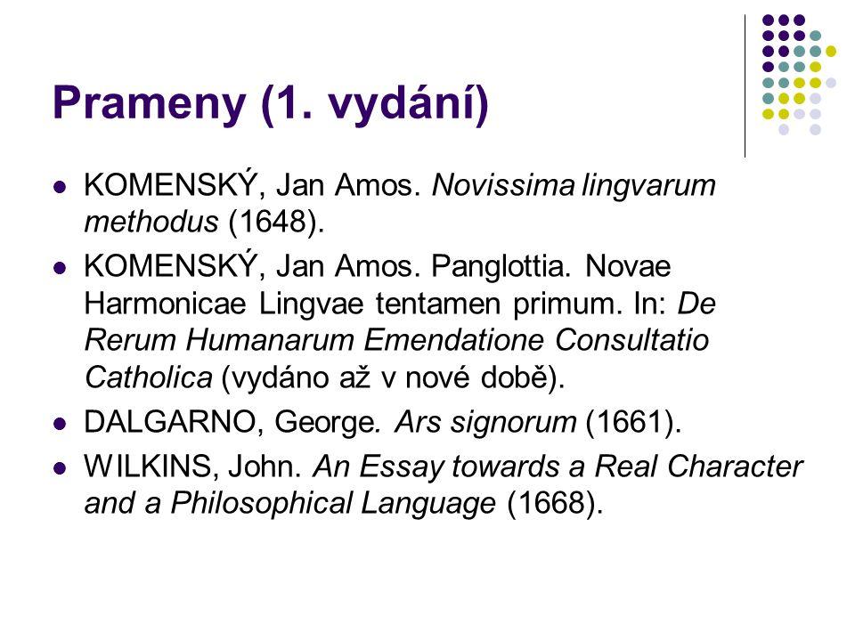 Prameny (1. vydání) KOMENSKÝ, Jan Amos. Novissima lingvarum methodus (1648). KOMENSKÝ, Jan Amos. Panglottia. Novae Harmonicae Lingvae tentamen primum.