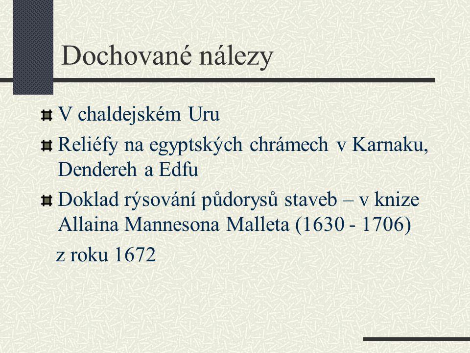 Dochované nálezy V chaldejském Uru Reliéfy na egyptských chrámech v Karnaku, Dendereh a Edfu Doklad rýsování půdorysů staveb – v knize Allaina Manneso