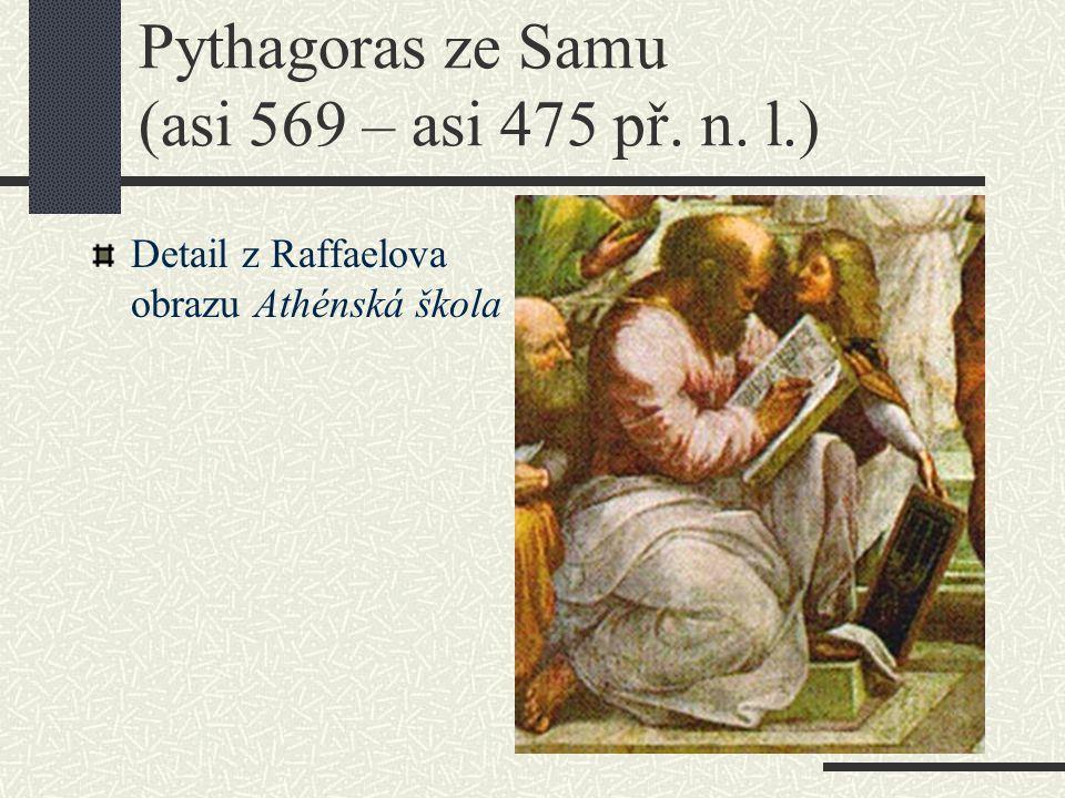 Pythagoras ze Samu (asi 569 – asi 475 př. n. l.) Detail z Raffaelova obrazu Athénská škola