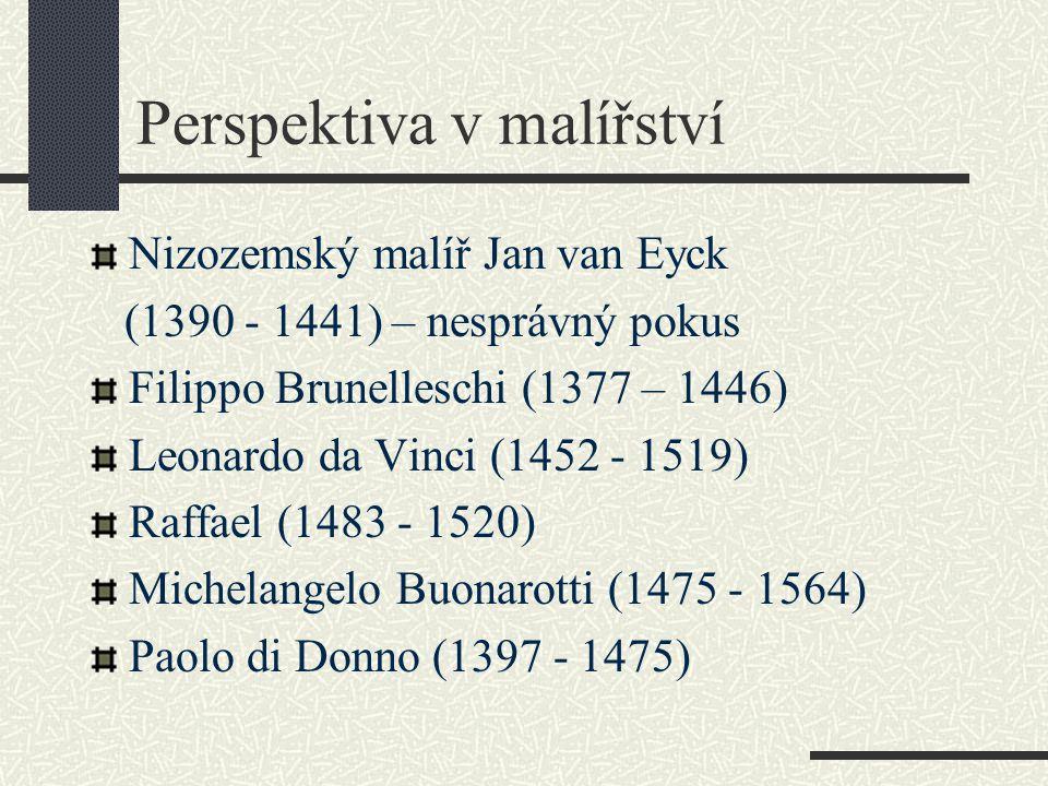 Perspektiva v malířství Nizozemský malíř Jan van Eyck (1390 - 1441) – nesprávný pokus Filippo Brunelleschi (1377 – 1446) Leonardo da Vinci (1452 - 151