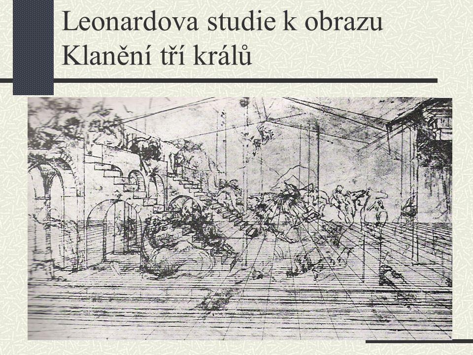 Leonardova studie k obrazu Klanění tří králů