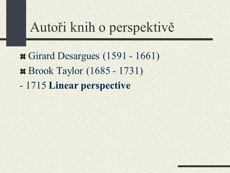 Autoři knih o perspektivě Girard Desargues (1591 - 1661) Brook Taylor (1685 - 1731) - 1715 Linear perspective