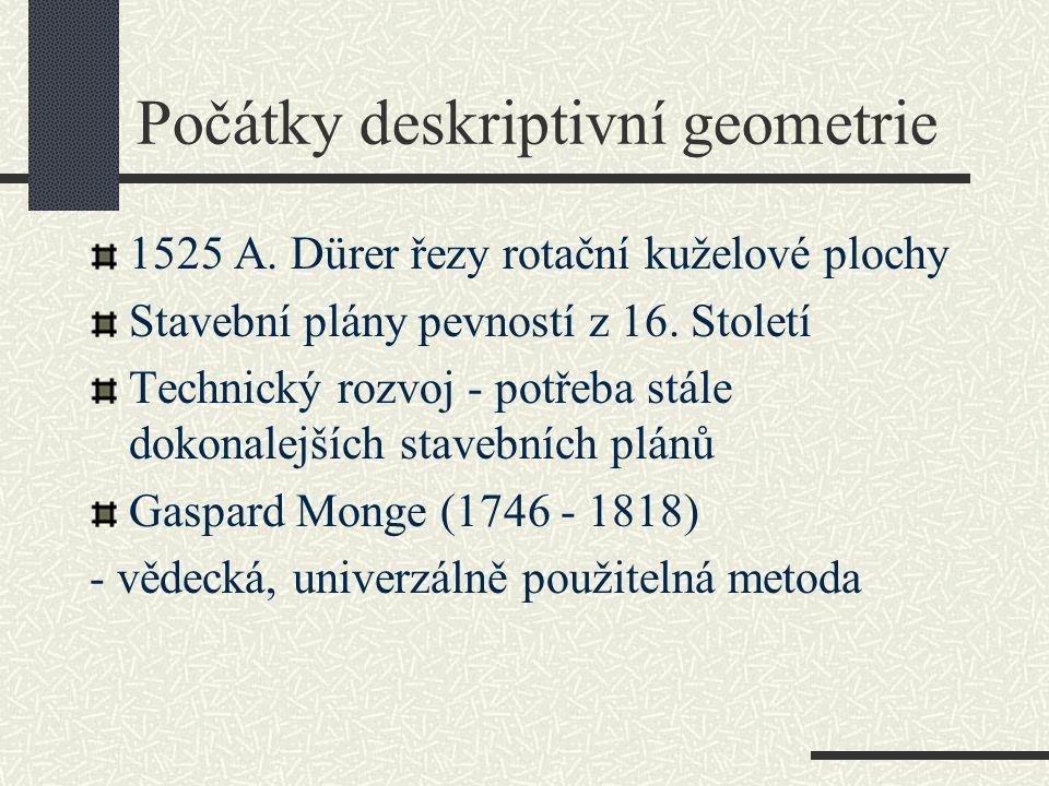 Počátky deskriptivní geometrie 1525 A. Dürer řezy rotační kuželové plochy Stavební plány pevností z 16. Století Technický rozvoj - potřeba stále dokon