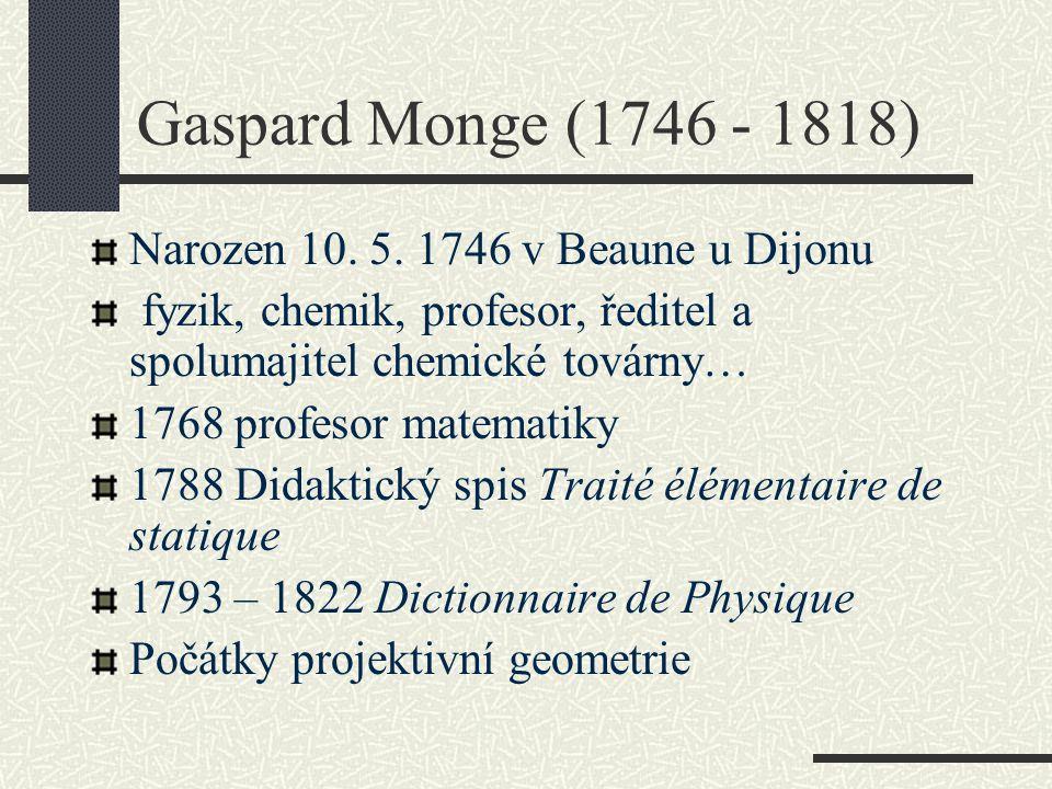 Gaspard Monge (1746 - 1818) Narozen 10. 5. 1746 v Beaune u Dijonu fyzik, chemik, profesor, ředitel a spolumajitel chemické továrny… 1768 profesor mate
