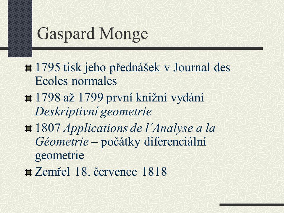 Gaspard Monge 1795 tisk jeho přednášek v Journal des Ecoles normales 1798 až 1799 první knižní vydání Deskriptivní geometrie 1807 Applications de l´An