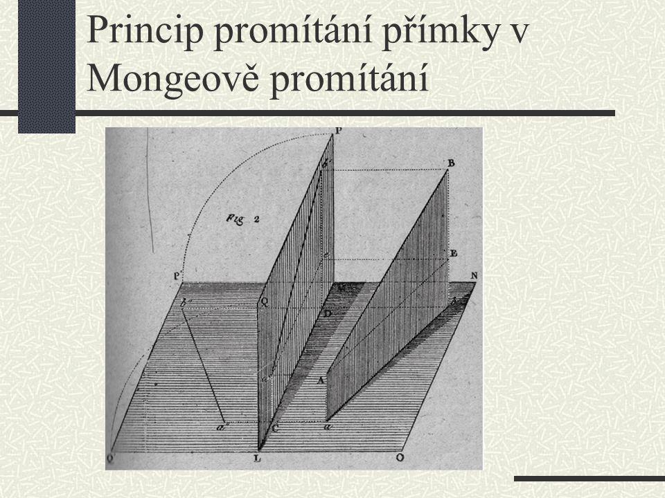Princip promítání přímky v Mongeově promítání