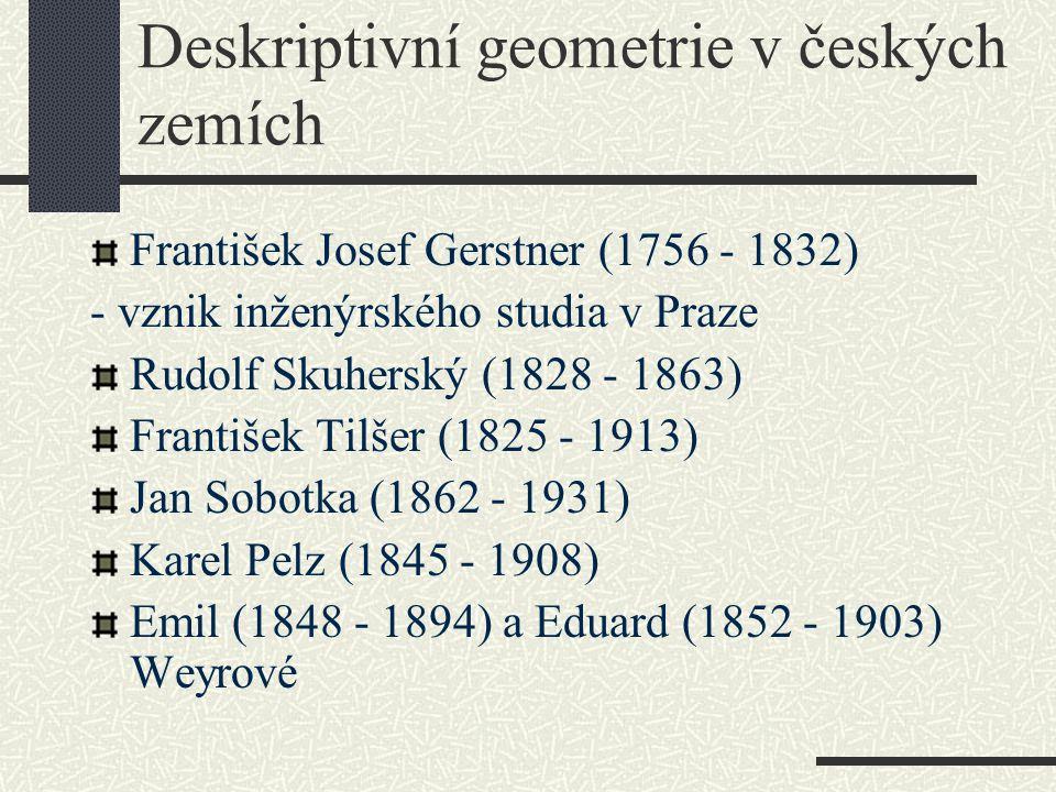 Deskriptivní geometrie v českých zemích František Josef Gerstner (1756 - 1832) - vznik inženýrského studia v Praze Rudolf Skuherský (1828 - 1863) Fran