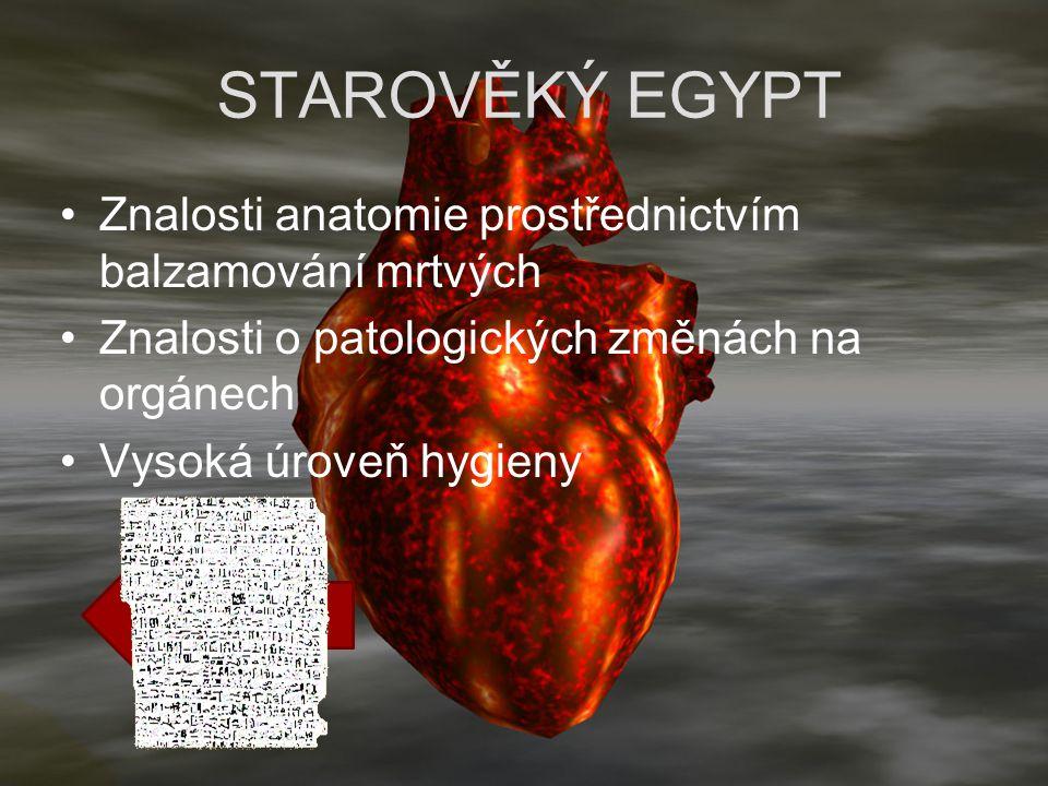 Ebersův papyrus STAROVĚKÝ EGYPT Znalosti anatomie prostřednictvím balzamování mrtvých Znalosti o patologických změnách na orgánech Vysoká úroveň hygie