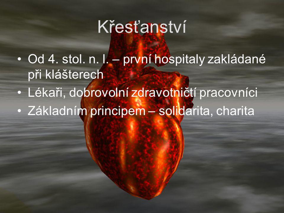 Křesťanství Od 4. stol. n. l. – první hospitaly zakládané při klášterech Lékaři, dobrovolní zdravotničtí pracovníci Základním principem – solidarita,