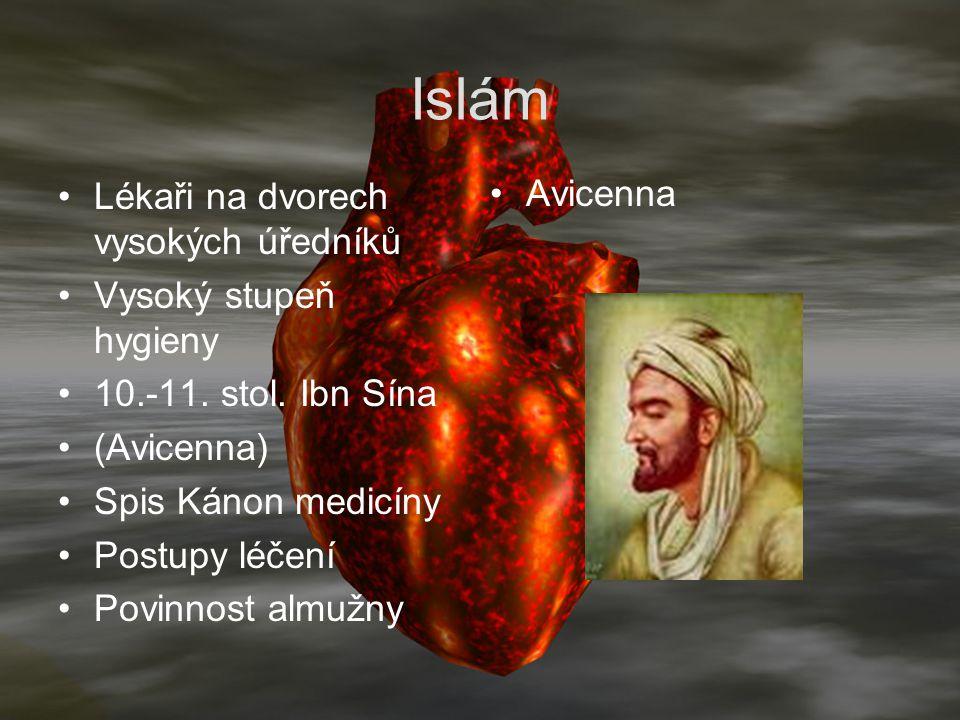 Islám Lékaři na dvorech vysokých úředníků Vysoký stupeň hygieny 10.-11. stol. Ibn Sína (Avicenna) Spis Kánon medicíny Postupy léčení Povinnost almužny