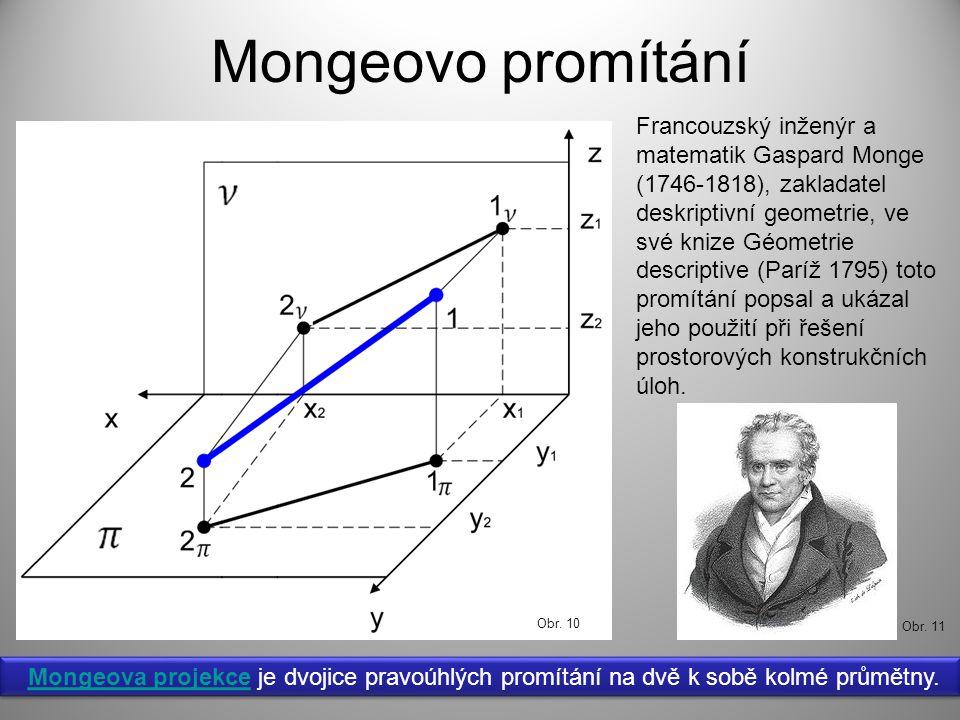 Mongeovo promítání Mongeova projekce je dvojice pravoúhlých promítání na dvě k sobě kolmé průmětny.Mongeova projekce Mongeova projekce je dvojice pravoúhlých promítání na dvě k sobě kolmé průmětny.Mongeova projekce Francouzský inženýr a matematik Gaspard Monge (1746-1818), zakladatel deskriptivní geometrie, ve své knize Géometrie descriptive (Paríž 1795) toto promítání popsal a ukázal jeho použití při řešení prostorových konstrukčních úloh.