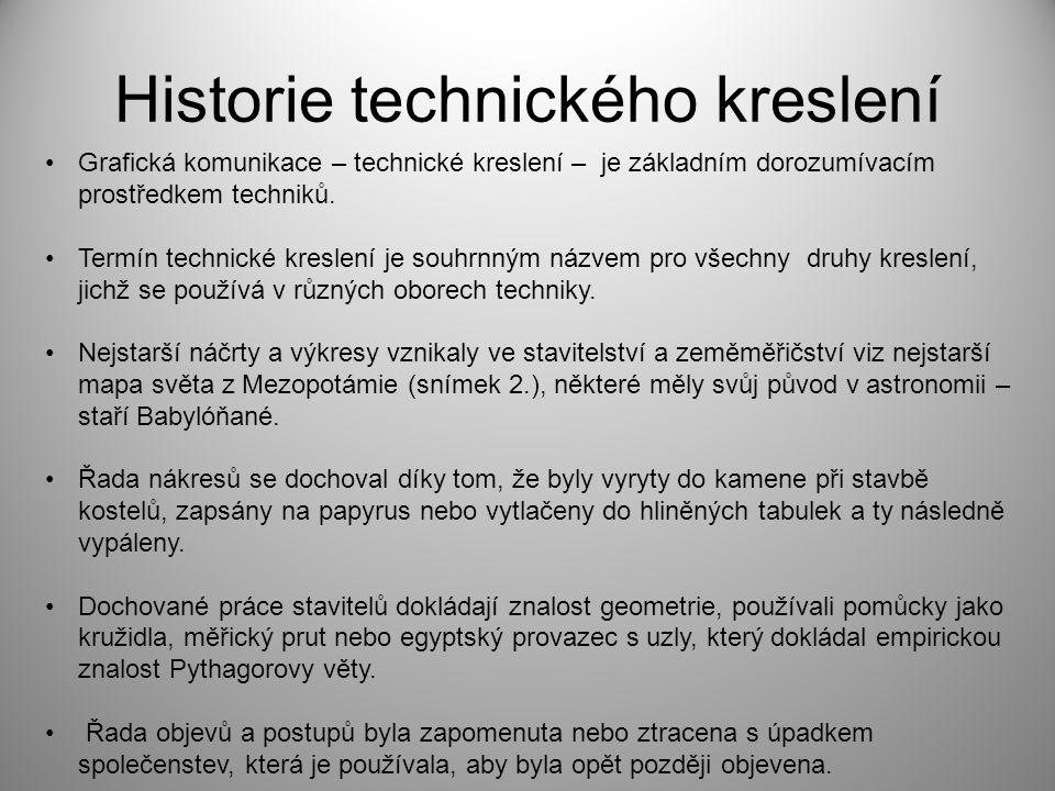 Historie technického kreslení Grafická komunikace – technické kreslení – je základním dorozumívacím prostředkem techniků. Termín technické kreslení je