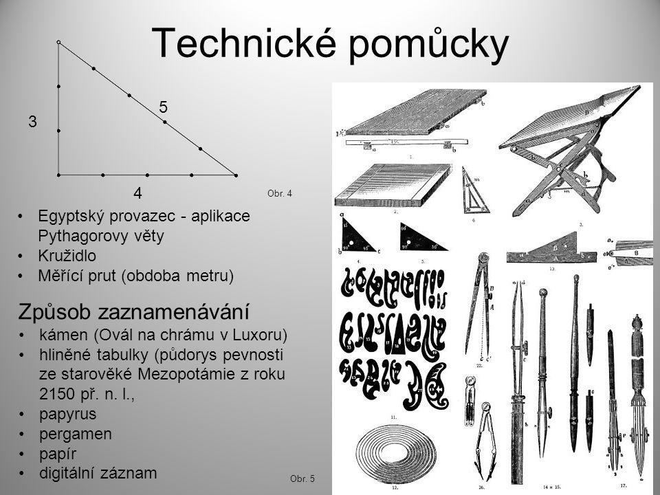 Technické pomůcky Egyptský provazec - aplikace Pythagorovy věty Kružidlo Měřící prut (obdoba metru) Způsob zaznamenávání kámen (Ovál na chrámu v Luxoru) hliněné tabulky (půdorys pevnosti ze starověké Mezopotámie z roku 2150 př.