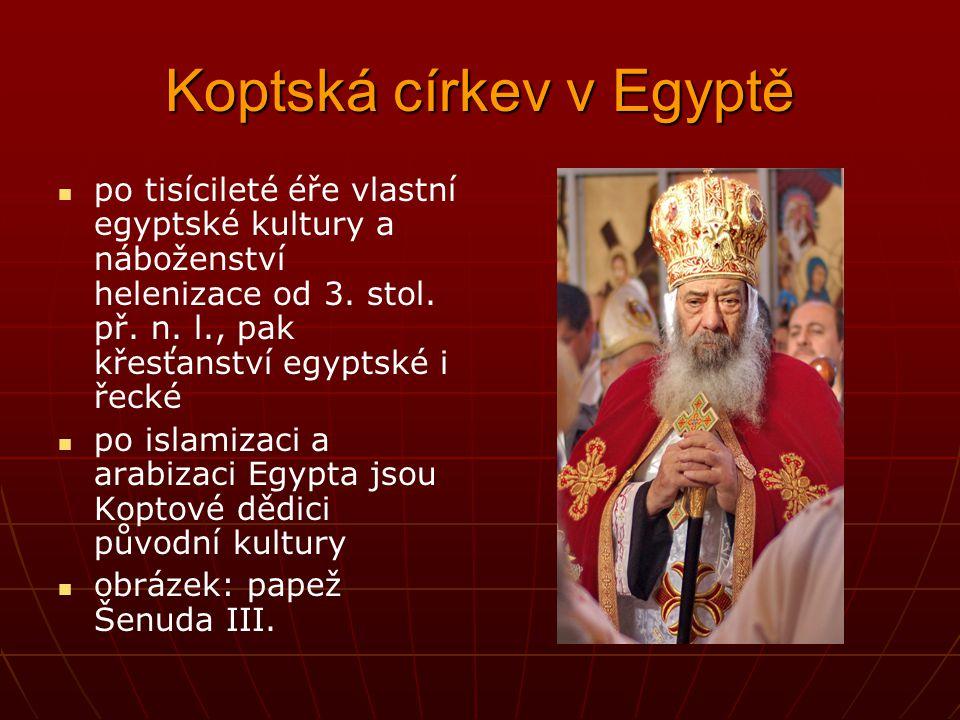 Koptská církev v Egyptě po tisícileté éře vlastní egyptské kultury a náboženství helenizace od 3. stol. př. n. l., pak křesťanství egyptské i řecké po