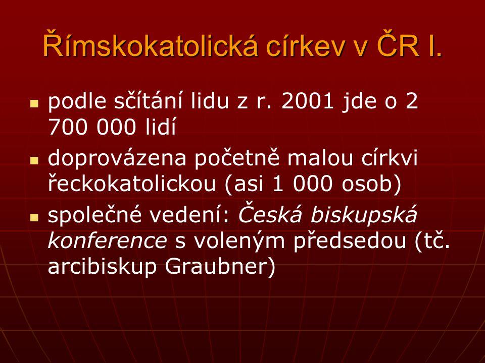 Římskokatolická církev v ČR I. podle sčítání lidu z r. 2001 jde o 2 700 000 lidí doprovázena početně malou církvi řeckokatolickou (asi 1 000 osob) spo